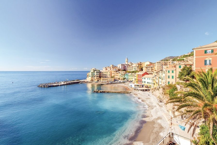 Apartment in Italy, Genoa: overview of Bogliasco,small village in Mediterranean sea, Italy