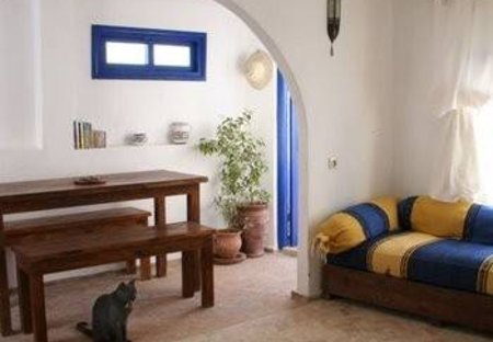 Apartment in Essaouira, Morocco: Living room (with door to private terrace)
