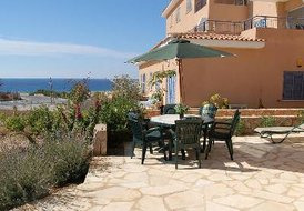 Apartment in Kato Paphos, Cyprus: Patio with sea views