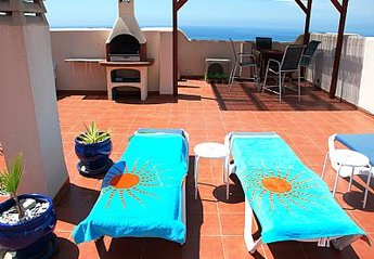 Apartment in Spain, Urbanización San Ginés: Roof Terrace, BBQ, large table and six chairs, loung..