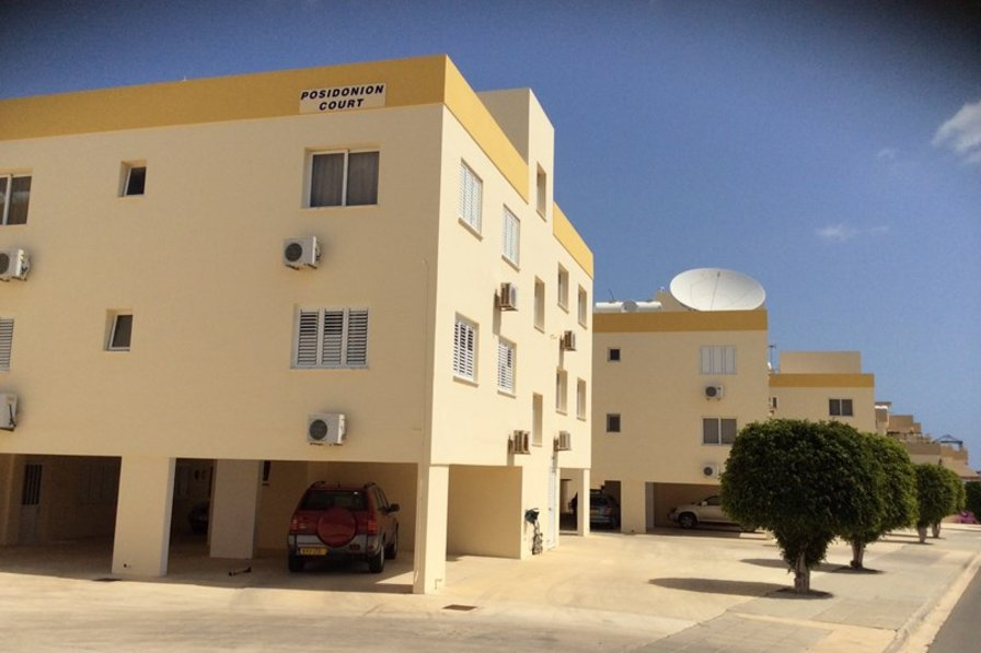 Apartment in Cyprus, Kapparis: Streetview towards apartment with Lollypop shaped roadside trees.