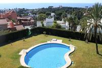 Apartment in Spain, Las Chapas: View from the terrace across the pool and out over the Med