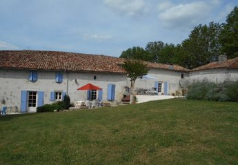 Farm House in France, Brossac: The back of the house, pool is on the right.