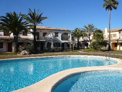 Apartment in Spain, Denia: View from pool to apartment