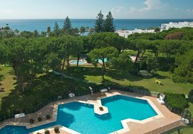 Apartment in Spain, Puerto Banús: Partial aerial view of Club Playas Del Duque gardens and beach ..