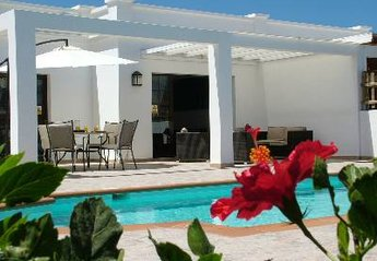 Villa in Spain, Costa de Papagayo:  Private patio with heated swimming pool