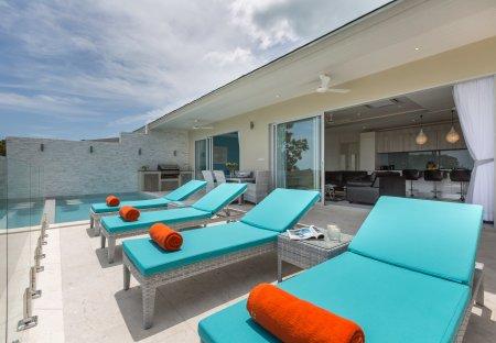 Villa in Plai Laem, Koh Samui: Pool terrace at Villa Ambience, a luxury 3 bedroom ocean view villa..