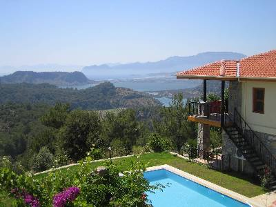 Villa in Turkey, Dalyan: Cicek Evi and the view accross the valley