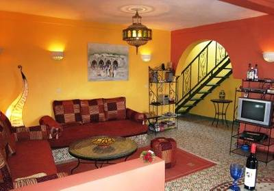 Apartment in Morocco, Essaouira: Lounge Area (Stairs leading to terrace)