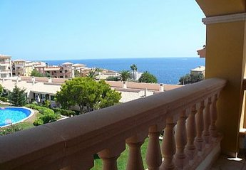 Apartment in Spain, Cala Anguila-Cala Mendia: view of sea and pool from balcony