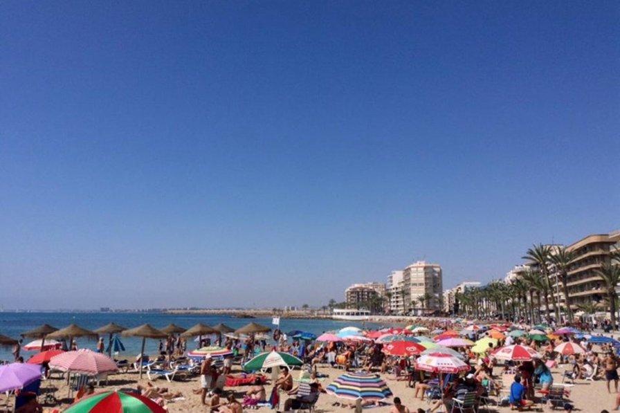 Apartment in Spain, Torrevieja: Playa Del Cura Beach 2 minutes walk Blue Flag Life Guards through ..