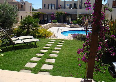 House in Greece, Chania region: View across garden to pool area