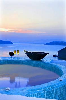 Villa in Greece, Fira Town: Jaccuzi on the roof