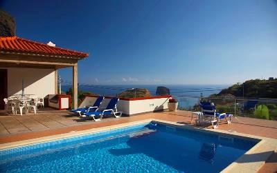 Villa in Portugal, Porto da Cruz: Sea view from the swimming poll