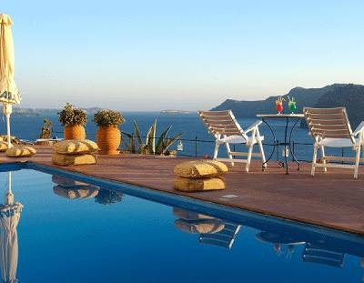 Apartment in Greece, Oia: View from the pool
