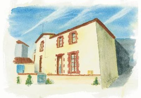 Cottage in La Meilleraie-Tillay, France: Watercolour of Cottage