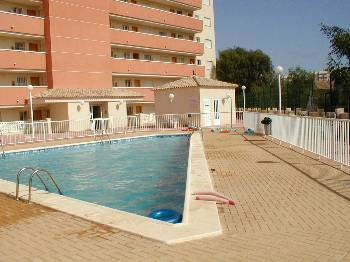 Apartment in Spain, Playa Honda: swimming pool and main entrance