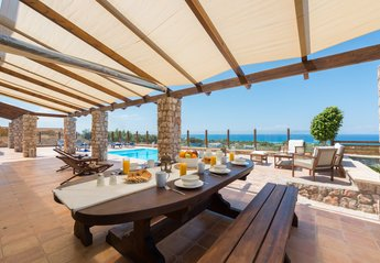Villa in Greece, Rhodes Town: outdoor with pool & sea view