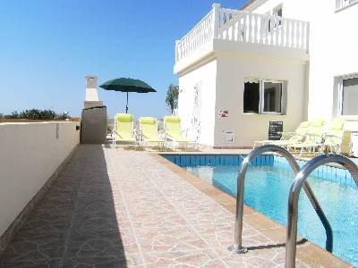 Villa in Cyprus, Nissi Beach: Tiled private pool of 3 bedroom villa in Ayia Napa