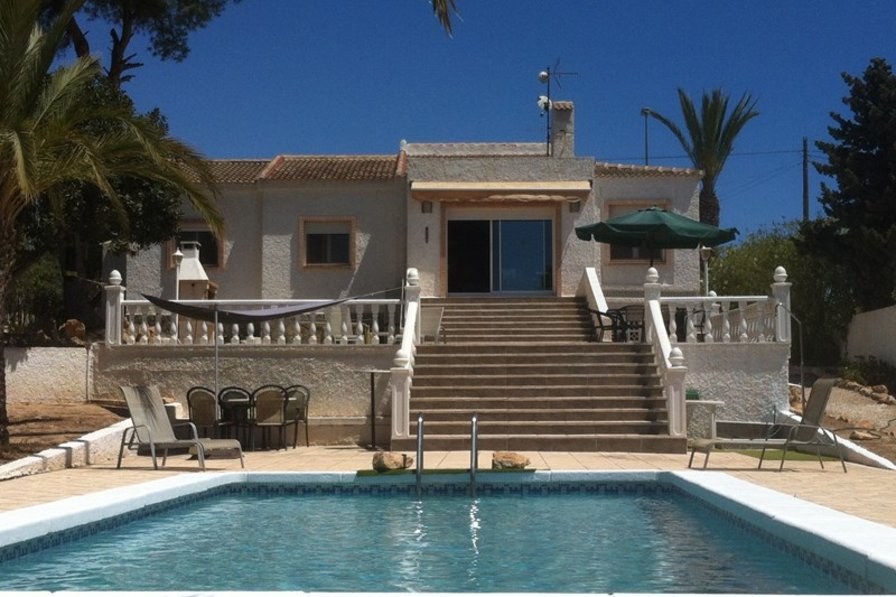 Villa in Spain, Mil Palmeras: View of villa from the pool