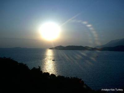 Studio apartment in Turkey, Kaş: Sunset view from the pool side