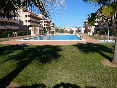 Apartment in Spain, Denia: Grass gardens and pool