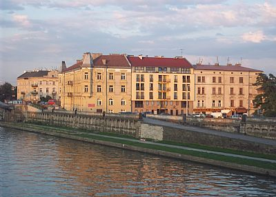 Apartment in Poland, Krakow: Apartment building across the river