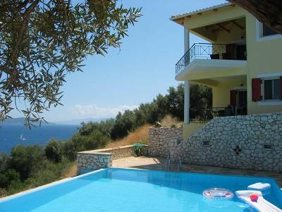 Villa in Greece, Lefkas Island: playfull architectual design with beautiful views