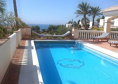 Villa in Spain, La Cala de Mijas: Pool and Sea view from the Villas Terrace
