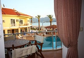 Apartment in Calis, Turkey: Sea and pool view from Dolphin aprt living room