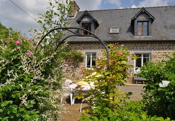 Farm_house in France, Manche: La Grande Boissiere, showing the front of house, south facing