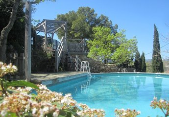 Village_house in France, Fouzilhon: Below castle walls, above ground pool and sun deck have views ..