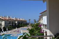 Apartment in Turkey, Calis Beach: Aqua 2 view looking west from balcony over pools and out to sea