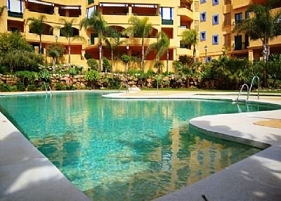 Apartment in Spain, Marbella: Swimming pool and garden area with loungers