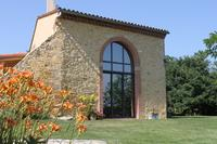 Farm_house in France, Aude: Front view with double height window looking towards Pyrenees