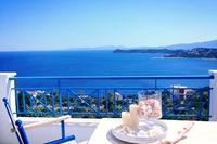 Villa in Greece, Athens Beach: Balcony off the living room can accommodate 10 guests