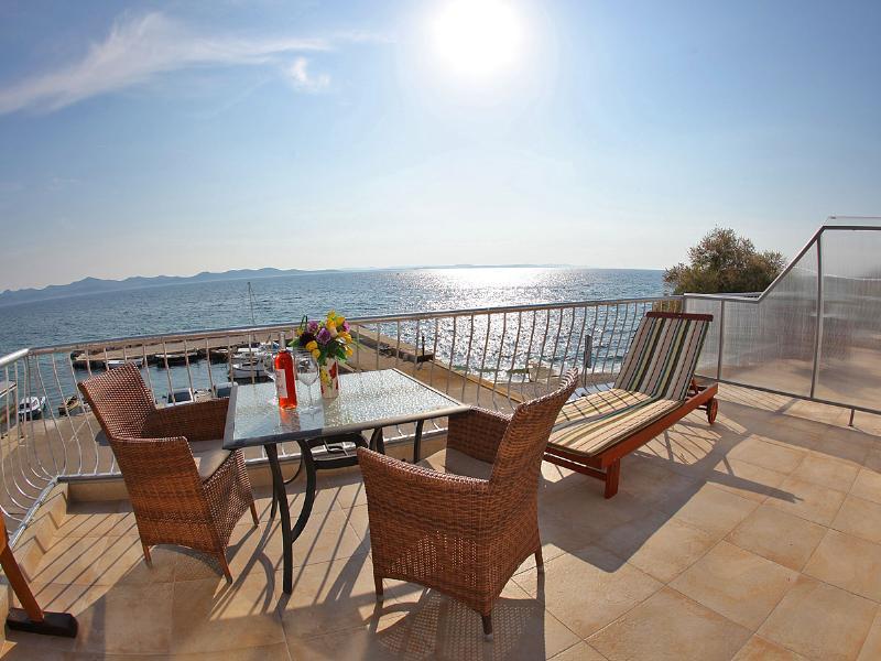 Apartment in Croatia, Diklo: sea view on terace