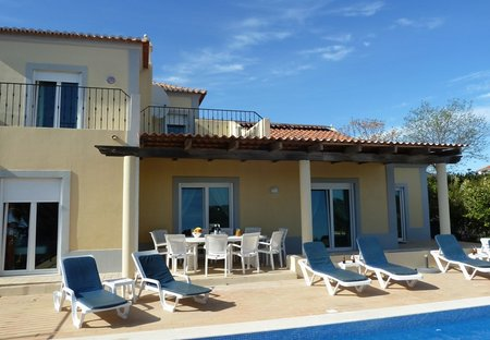 Villa in Alecrineira, Algarve: part of rear of villa, furnished terrace, deep shade, south facing ..