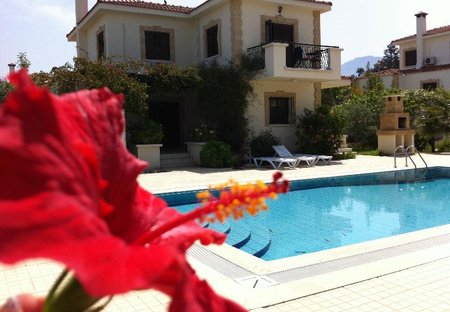 Villa in Catalkoy, Cyprus: villa view with large private overflow pool and BBQ
