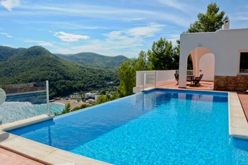 Ibiza villa with infinity pool looking at bay and beach.