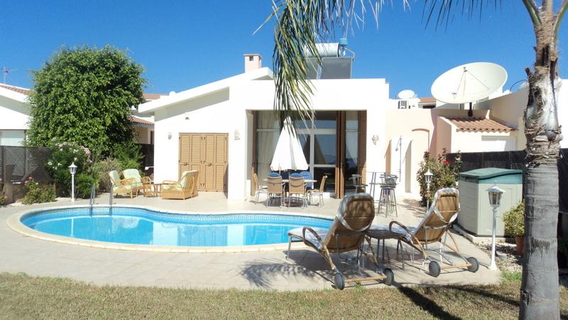 Villa in Cyprus, Coral Bay Centre: Villa Sunrise Beach - Rear & pool View