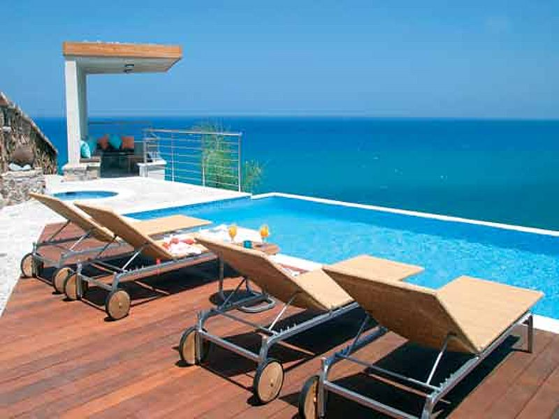 Villa in Cyprus, Pomos: Villa Aquamarine - Sea view from pool terrace