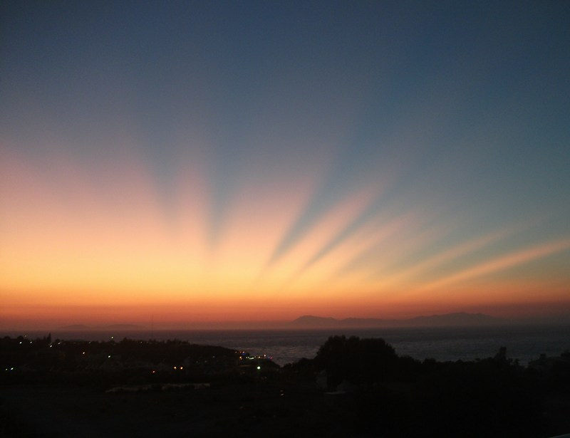 Apartment in Turkey, Altinkum: Sunset from the roof top terrace