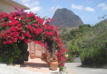 Villa in Saint Lucia, Saint Lucia Island: Entrance to Piton Vista Villa with  view of the iconic G..